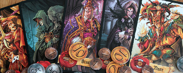 Mascarade is proof that a good game doesn't need many components. With just 13 cards and some paper coins, Bruno Faidutti created an intense game of bluff and confusion that works for up to 13 players.